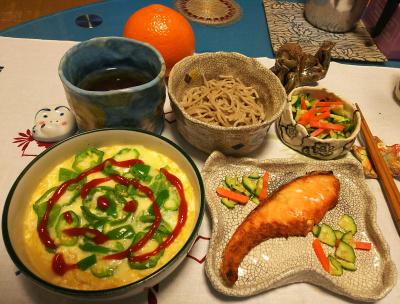 DSC_1610_0216夜-鮭焼き、豆腐卵チーズスフレ、キュウリ、蕎麦_400.jpg