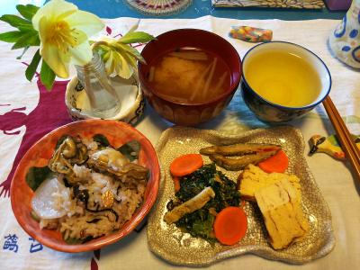 DSC_1643_0220昼-牡蠣と大根ご飯、きびなご唐揚げ、卵焼き、ほうれん草胡麻和え、みそ汁_400.jpg