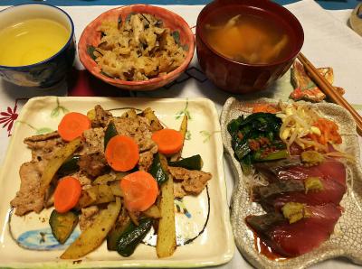 DSC_1670_0224夜-生鰹お刺身、ポークソテー、お吸い物、サンマオレンジご飯_400.jpg