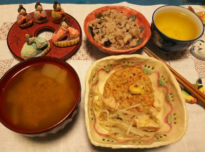 DSC_1699_0301夜-豆腐バーグ、、スープ、牡蠣ご飯、雛人形_400.jpg