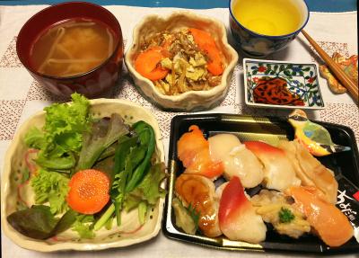 DSC_1729_0306夜-貝づくし握り寿司、サラダ、モヤシ卵とじ、みそ汁_400.jpg