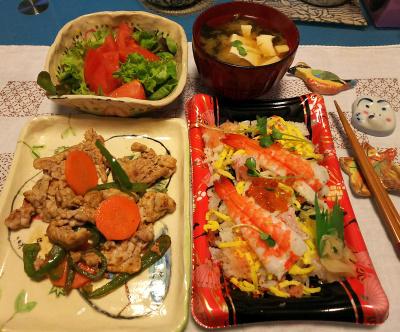 DSC_1743_0309夜-ポークソテー、海鮮ちらし寿司、トマトサラダ、みそ汁_400.jpg