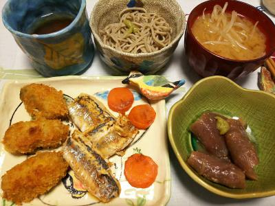 DSC_1839_0318夜-鯵ソテー、カキフライ、マグロ漬、モヤシみそ汁、蕎麦_400.jpg