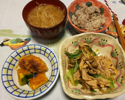 DSC_1842_0319夜-ポーク炒め、南瓜、カキフライ、モヤシみそ汁、牡蠣風味ご飯_400.jpg