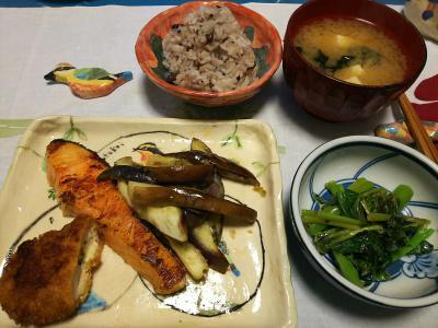 DSC_1875_0323夜-鮭焼き、ささみチーズかつ、ナス炒め、アシタバのマヨネーズ炒め、味噌汁、小豆ご飯_400.jpg