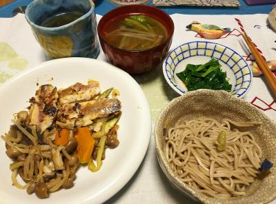 DSC_1890_0327夜-鯵と野菜ソテー、アシタバおひたし、スープ、蕎麦_400.jpg