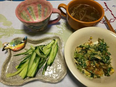 DSC_1911_0329夜-アシタバの卵炒め、キュウリ、スープ_400.jpg