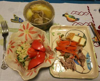 DSC_1928_0402夜-、NEW器に盛ったトマトポテトサラダ、ポーク厚揚げソテー、海老ワンタンスープ_400.jpg
