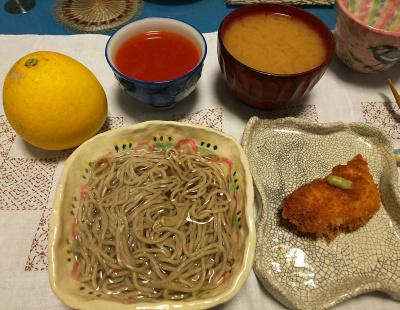 DSC_2033_0416夜-ささみチーズかつ、シジミみそ汁、野菜ジュース、蕎麦、河内晩柑_400.jpg