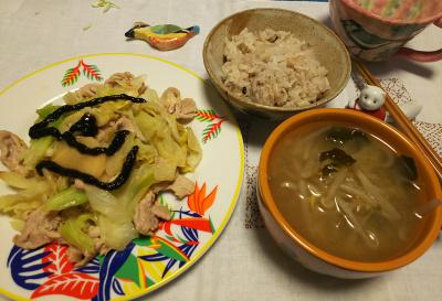 DSC_2188_0424夜-ポークとキャベツソテー、モヤシみそ汁、雑穀ご飯_400.jpg