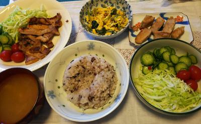 DSC_2773_0608昼-ポークソテー、ほうれん草の卵とじ、サラダ、トーストOR雑穀ご飯_400.jpg