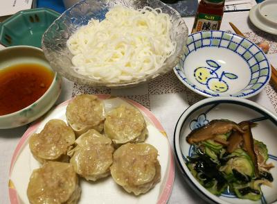 DSC_2787_0609夜-シューマイ、椎茸入りキュウリの酢の物、そうめん_400.jpg