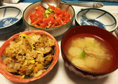 DSC_2842_0615夜-あさりご飯、麩のみそ汁、トマトサラダ_400.jpg