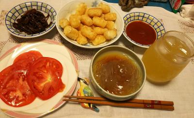 DSC_3026_0624夜-ところてん、ハッシュドポテト、トマト、しめじ佃煮、フルーツジュース_400.jpg