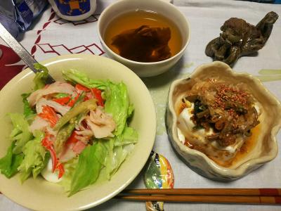 DSC_3110_0702夜-ナムルのっけ冷ややっこ、蟹と味噌漬けミョウガタケのサラダ、スープ_400.jpg