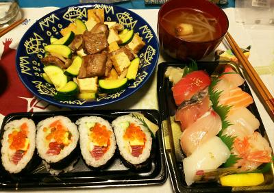 DSC_3179_0709夜-握り寿司、海鮮巻き寿司、レバーとズッキーニと厚揚げ炒め、つくねスープ_400.jpg