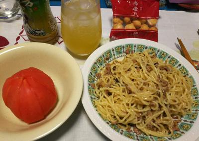 汁なしラーメン、トマト、フルーツジュース