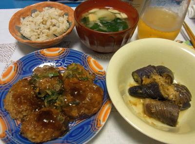 R0037094_0716夜-軟骨ハンバーグ、ナスの煮物、みそ汁、縄文ご飯_400.jpg