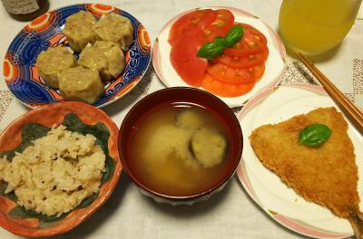 DSC_3283_0720夜-アジフライ、シュウマイ、トマト、ナスの味噌汁、縄文ご飯、ジュース_400.jpg