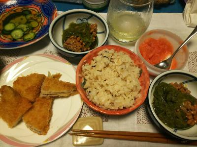 DSC_3293_0721夜-アジフライ、めかぶ納豆、数の子たらこ、キュウリの酢の物、縄文ご飯_400.jpg