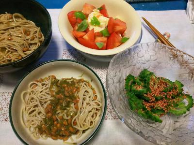 DSC_3314_0724夜-採れたてゴーヤサラダ梅胡麻風味、めかぶ納豆流水蕎麦、トマトポテトサラダ_400.jpg