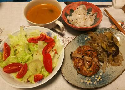 DSC_3393_0730夜-ハンバーグ、あんかけ野菜、サラダ、カレースープ、雑穀ご飯_400.jpg