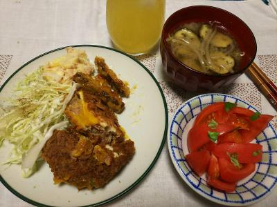 DSC_3441_0803夜-トロ玉メンチカツ、ごぼう天、ツナポテトサラダ、キャベツ、トマト、ナスの味噌汁_400.jpg
