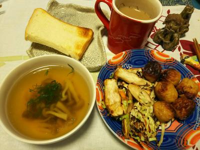 DSC_3556_0817夜-つくねとエリンギ焼き、しめじスープ、トースト_400.jpg
