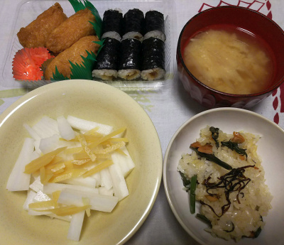 DSC_3567_0819夜-海苔巻きといなり、あさり炊き込みご飯、大根サラダ、みそ汁_400.jpg
