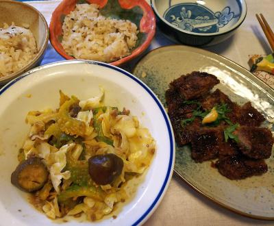 DSC_3711_0830昼-レバーかつ、ゴーヤ肉味噌炒め、縄文ご飯_400.jpg