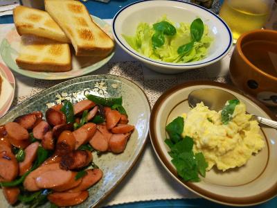 ポテト卵サラダ、鶏と野菜のトマト煮、モヤシ和風スープ