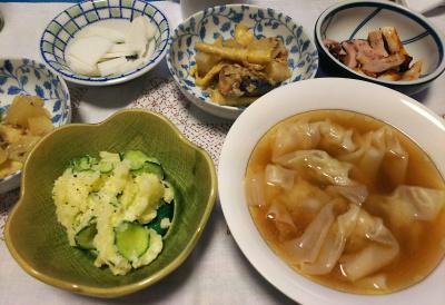 DSC_3798_0908夜-ワンタンスープ、ポテトサラダ、鯖と筍と大根味噌煮、イカ焼き、大根サラダ_400.jpg