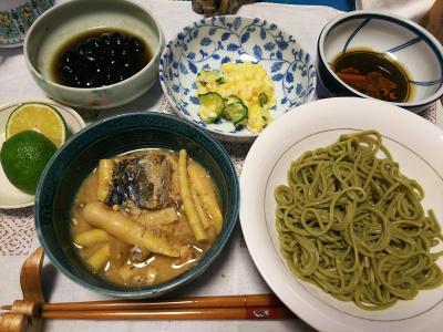 DSC_3807_0909夜-筍と鯖缶の味噌煮、茶そば、ポテトサラダ、黒豆、スダチ_400.jpg