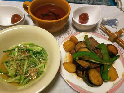 DSC_3891_0913夜-キュウリの酢の物、ナスの牛肉炒め、砂糖煮梅、スープ_400.jpg