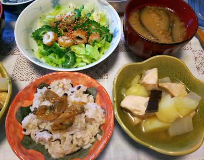 DSC_3969_0921昼-ゴーヤNo16サラダ、アサリの佃煮ご飯、鶏の煮物、ナスのみそ汁_400.jpg