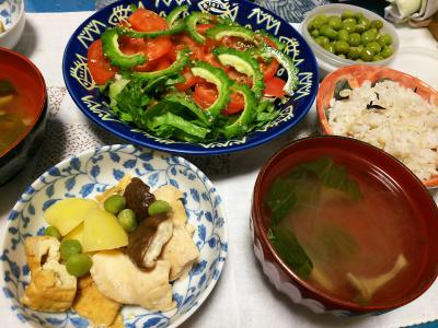 DSC_4170_0928夜-ゴーヤNo18サラダ、鶏の煮物、春雨スープ、塩えんどう_400.jpg