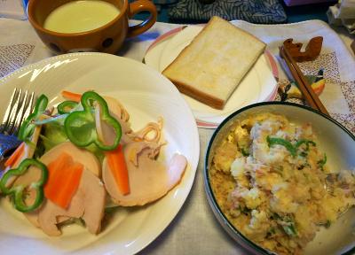 DSC_4227_1002昼-ポテトツナサラダ、チキンサラダ、トースト、枝豆冷製スープ_400.jpg