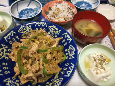 DSC_4230_1002夜-豚肉と野菜炒め、冷ややっこ、みそ汁、縄文ご飯_400.jpg