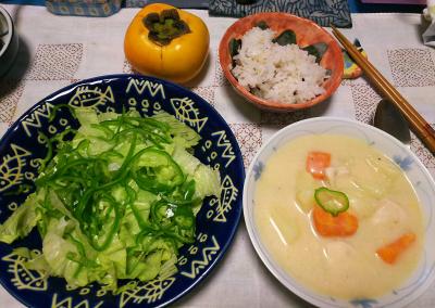 DSC_4285_1009夜-チキンクリームシチュー、ピーマンサラダ、縄文ご飯、種なし柿_400.jpg