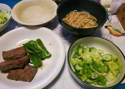 DSC_4312_1011夜-ゴーヤNo21サラダ、一口ステーキ、おろし大根添え、うどん_400.jpg
