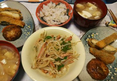 DSC_4348_1013夜-モヤシ炒め、チーズフライ、豆腐バーグ、豆腐と大根のミョウガみそ汁、雑穀ご飯_400.jpg