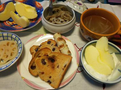 DSC_4391_1017昼-トースト、ちくわ焼き、酢漬けレンコン(NEW)、レンコンきんぴら、スープ、リンゴヨーグルト_400.jpg