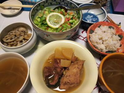 DSC_4394_1017夜-ぶり大根、サラダ、レンコンきんぴら、スープ、雑穀ご飯_400.jpg
