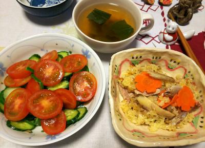 DSC_4537_1101夜-サンマのオレンジジュースご飯、トマトサラダ、青梗菜スープ_400.jpg