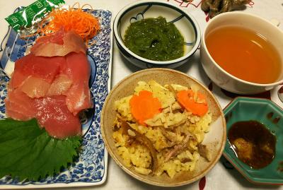DSC_4548_1102夜-マグロ刺身、サンマオレンジご飯、めかぶ、スープ_400.jpg