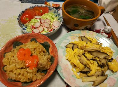DSC_4562_1104夜-採れたてラディッシュサラダ、ラディッシュの葉のみそ汁、キノコの卵炒め、サンマオレンジご飯_400.jpg