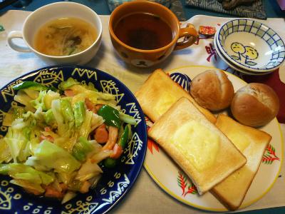 DSC_4575_1105昼-ソーセージとキャベツ炒め、チーズトースト、スープ_400.jpg