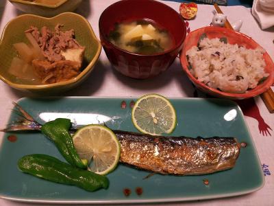 DSC_4586_1106夜-サンマ焼きレモン添え、厚揚げ煮物、豆腐みそ汁、雑穀ご飯_400.jpg