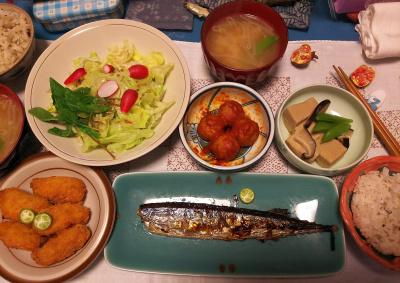DSC_4632_1110夜-採れたてラディッシュサラダ、高野豆腐の煮物、サンマ焼き、カキフライ、肉団子トマト煮、みそ汁、縄文ご飯_400.jpg