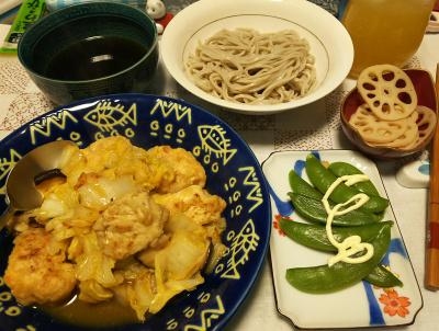 DSC_4650_1112夜-チキンと白菜と椎茸炒め、酢漬けレンコン、スナップエンドウ、蕎麦_400.jpg